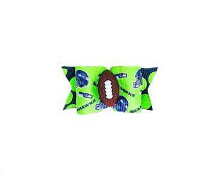 NFL Dog Hair Bows- Seattle Seahawks Pet Bow Elastics or Barrette Football Bows