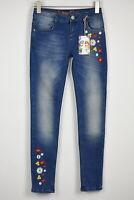 RRP €89 DESIGUAL DENIM LORIANE Women's EUR 28 ~S Skinny Embroidery Jeans 11941*
