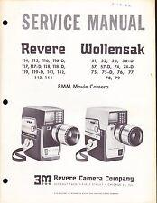 REVERE SERVICE MANUAL for MODEL 114 8mm MOVIE CAMERA