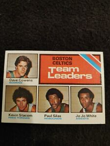 1975 Topps Boston Celtics team leaders Dave Cowens Paul Silas White #117 EX+