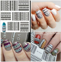 Tribal Black Lace Images Nail Art Water Decals Transfer Stickers DIY Decoration