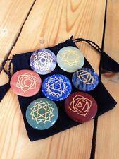 Sanskrit Chakra Crystal Disc Set with pouch, balance, healing, gemstones, Reiki