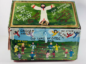 Folk Art 1989 Ronald Cooper Bible Things Breadbox Heaven Hell Devil LARGE