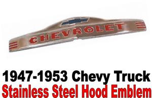 1947-1953 Chevrolet w/ Bowtie Pickup Truck Stainless Hood Emblem Brand New 3100