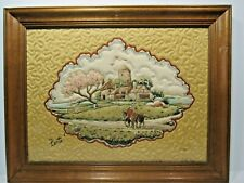 VINTAGE ORIGINAL DIMENSIONAL BY BERTE TRAPUNTO QUILTED FABRIC PICTURE FRAMED