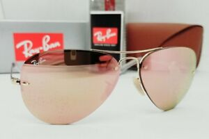 RAY BAN gold/brown-pink mirror RB3449 001/2Y 59 sunglasses! NEW IN BOX!