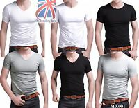 Mens Slim Fit V-neck/ Crew neck T-shirt Short Sleeve Muscle Tee Size S M L MX001