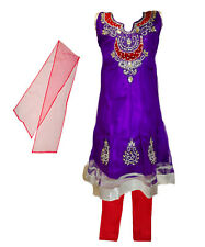 Girls' Salwar Kameez Indian Party Clothing Purple with Red and Silver Accents