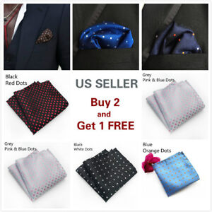 Men's Satin Silk Dots Pocket Square Hankie Hankerchief Wedding Party Formal Suit