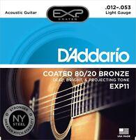 D'Addario EXP11 Coated 80/20 Bronze 12-53 Light Acoustic Guitar Strings