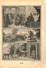 Les péchés capitaux l'avarice luxure gourmandise Catéchisme Bible GRAVURE 1908