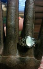 Sterling Silver Branded Thailand 925 Size 7.5 MOP With Filagree Designs Ring