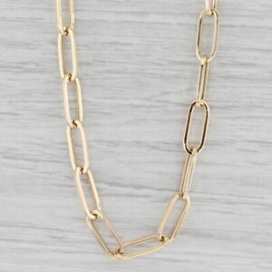"""New Paper Clip Chain Necklace 14k Yellow Gold 19.5"""" 6.3mm Elongated Cable Chain"""