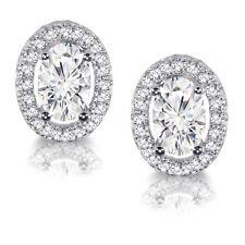 Trasparente Ovale Diamanti Finti Aureola Argento Massiccio Orecchini