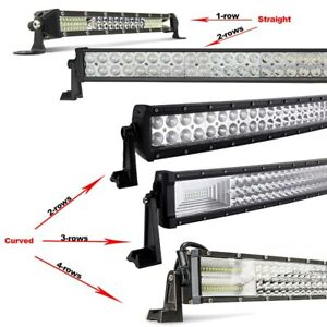 Straight /Curved Led Work Light Bar Combo Spot Flood Rectangle Driving Lamp Roof