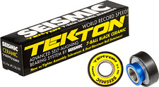 Seismic Tekton 7-Ball Black Ceramic 8mm Skateboard Longboard Pro Bearings