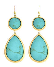 Round Teardrop Natural Turquoise Stone Brushed Gold Wire Earrings Dangle