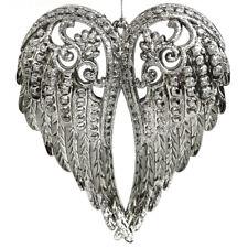 Silver Angel Wings Christmas Tree Ornament Elegant Glitter R