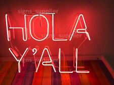 New Pink Hola Y'all Acrylic Neon Sign Light Lamp Artwork Display With Dimmer