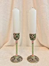 "Pair of Vintage Crystal, Enamel, Cloisonné Candlesticks, Pink Green, 6"" Tall"