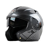 DOT Bluetooth Carbon Fiber Motorcycle Helmet Modular Flip Up Full Face 2 Visor