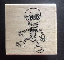 Halloween Skeleton Wood Mounted Rubber Stamp, New