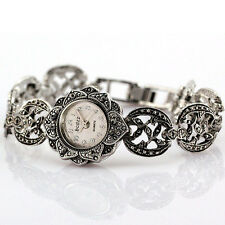 Retro Steel Sunflower Dial Case Design Lady Bracelet Vintage Quartz Watch Women