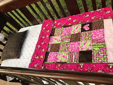 7 Piece - Crib Bedding Set - Jungle / Monkey / Pink / Quilts / Mobile