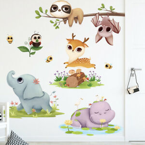 REMOVABLE ANIMALS JUNGLE ZOO ELEPHANT HIPPO WALL STICKER BABY KIDS ROOM CHILDREN
