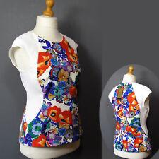 per Una Speziale Floral Print Cap Sleeve Fitted Top Size 14 Multi Mix