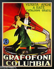 Vintage Advertising Poster COLUMBIA GRAFOFONI Custom Framed & Matted  A+Quality
