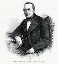 Antique woodcut print: portrait Johann Heinrich Lubeck 1865 Lübeck