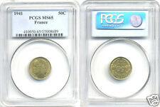 ETAT FRANCAIS (1940-1944) 50 CENTIMES MORLON 1941 PCGS MS 65 !!!!!