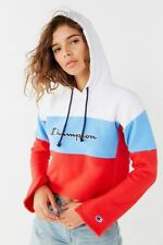 NEW CHAMPION WHITE BLUE RED REVERSE WEAVE CROPPED HOODIE SZ L LARGE
