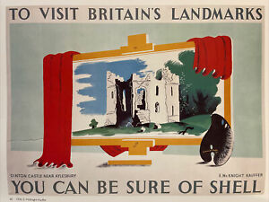 """Shell Oil, Dinton Castle,Aylesbury 1936 Mini Vintage Travel Poster Ad. 15x11"""" 60"""