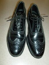VTG Florsheim Imperial Black Wingtip Shoes Oxfords Mens sz 7.5D