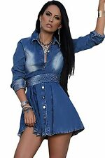 Abito Gonna Top aderente jeans Bottoni Scollo Strass Mini Denim Skater Dress S