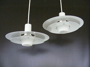 Two Small Danish White Vintage Pendant Lamp Opal Glass - Fog Morup Lyfa PH Era