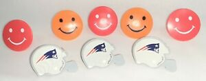 3 NFL PATRIOTS TOY RINGS from 2011 - also 5 non-NFL children's smiley face rings