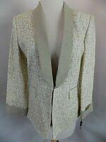 NEW Tahari Arthur S. Levine Blazer Jacket Sz 8 Lined Linen Beige/Ivory Patterned