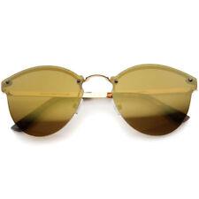 Gafas de sol de mujer de espejo de oro de metal