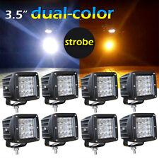 """8pcs 3"""" INCH Shooter Pods Combo LED Work Light Bar Strobe Lamp White & Amber"""