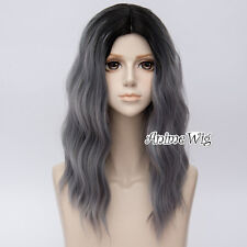 Lolita Ombre Black Mixed Gray 55CM Fluffy Halloween Cosplay Wig Heat Resistant