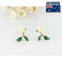 New Women's 925 Sterling Silver Cute Camellia Pretty Flower Stud Earrings