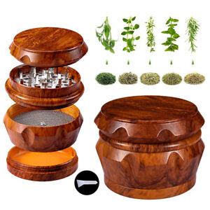 "4 PCS 2.5"" Wood Tobacco Herb Grinder Large Storage Hand Mill Smoke Spice Crusher"