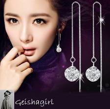 925 Sterling Silver Box Chain Clear 10 MM Shamballa Dangle Earring UK Sell