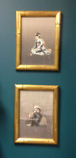 Pair Antique Embroidered Smoking Asian Man/Geisha Girl Framed Silk Wall Hangings