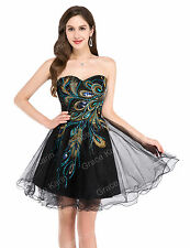Long/Short Vintage PEACOCK Masquerade Formal Evening Ball Gown Party Prom Dress