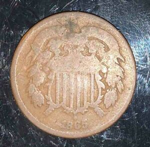 #268 UNITED STATES - Two Cent Coin - 1865