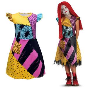 Halloween Girls Cosplay Sally DressThe Nightmare Before Christmas Kids Costume